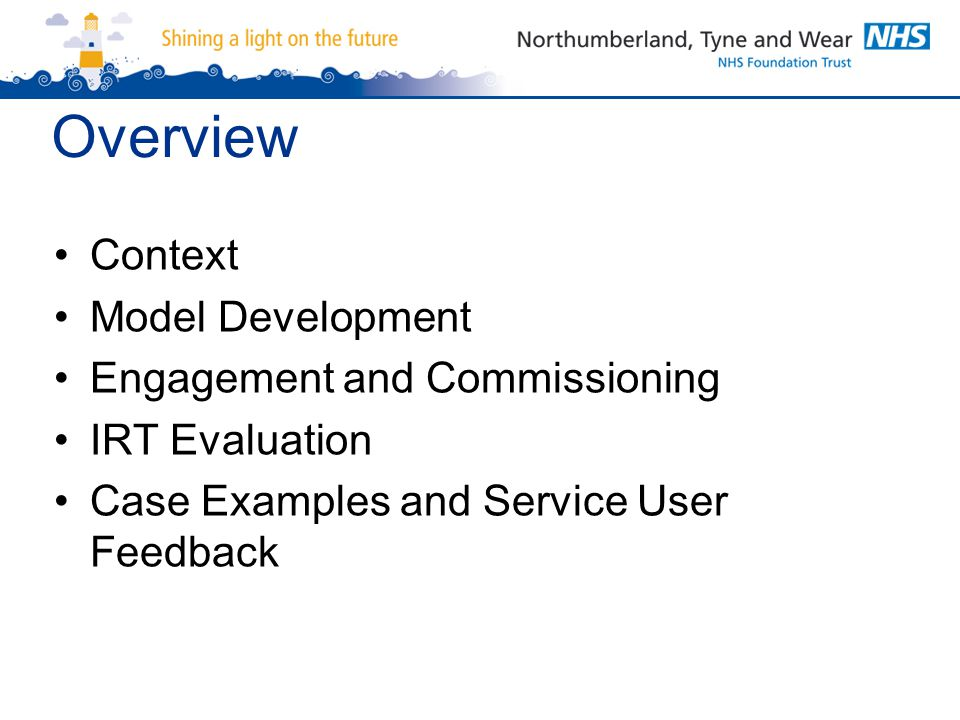 Overview Context Model Development Engagement and Commissioning IRT Evaluation Case Examples and Service User Feedback