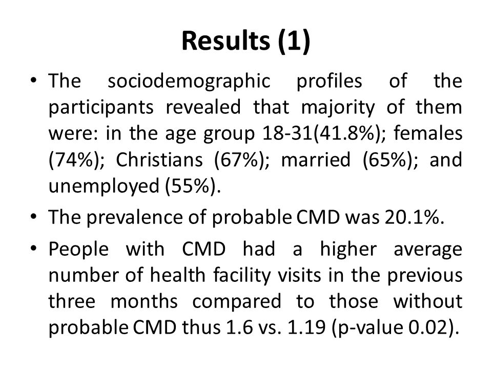 Results (1) The sociodemographic profiles of the participants revealed that majority of them were: in the age group 18-31(41.8%); females (74%); Christians (67%); married (65%); and unemployed (55%).