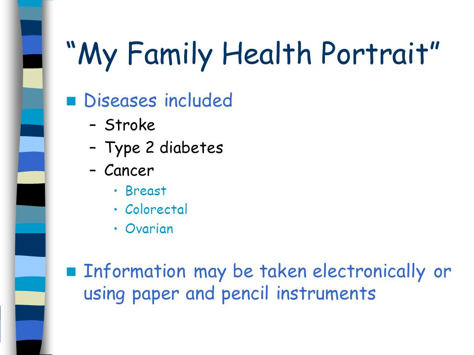 My Family Health Portrait Diseases included –Stroke –Type 2 diabetes –Cancer Breast Colorectal Ovarian Information may be taken electronically or using paper and pencil instruments