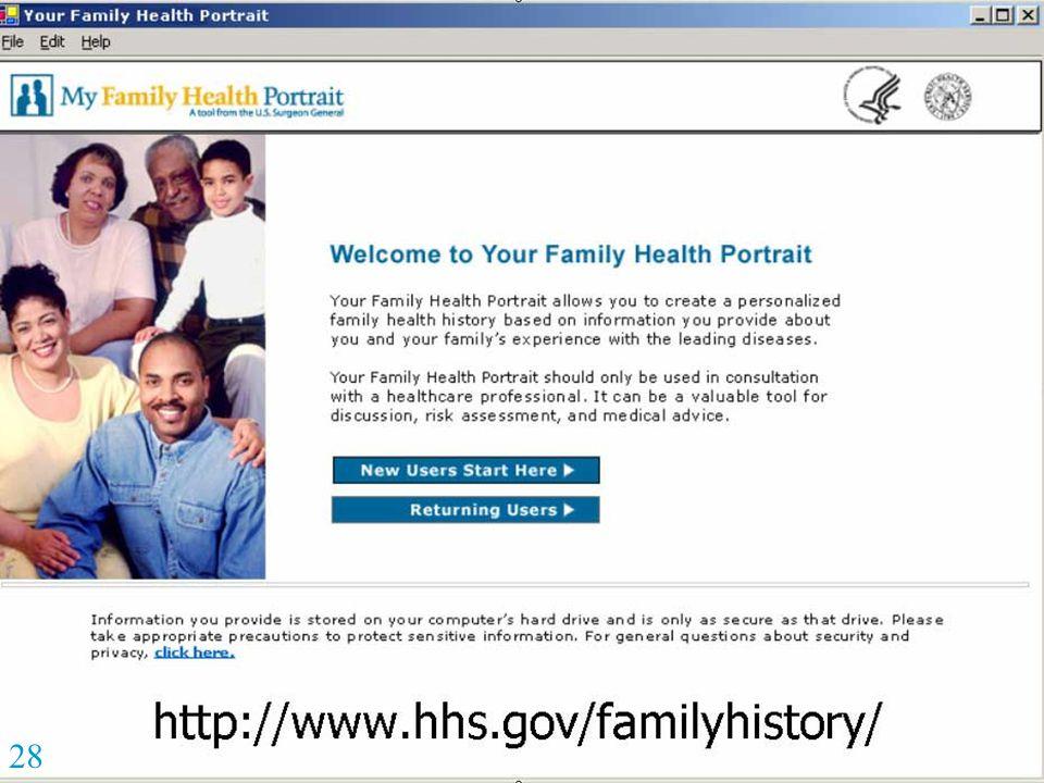 http://www.hhs.gov/familyhistory/ 28