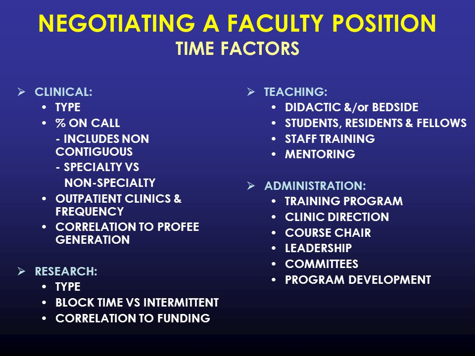 NEGOTIATING A FACULTY POSITION TIME FACTORS  CLINICAL: TYPE % ON CALL - INCLUDES NON CONTIGUOUS - SPECIALTY VS NON-SPECIALTY OUTPATIENT CLINICS & FREQUENCY CORRELATION TO PROFEE GENERATION  RESEARCH: TYPE BLOCK TIME VS INTERMITTENT CORRELATION TO FUNDING  TEACHING: DIDACTIC &/or BEDSIDE STUDENTS, RESIDENTS & FELLOWS STAFF TRAINING MENTORING  ADMINISTRATION: TRAINING PROGRAM CLINIC DIRECTION COURSE CHAIR LEADERSHIP COMMITTEES PROGRAM DEVELOPMENT