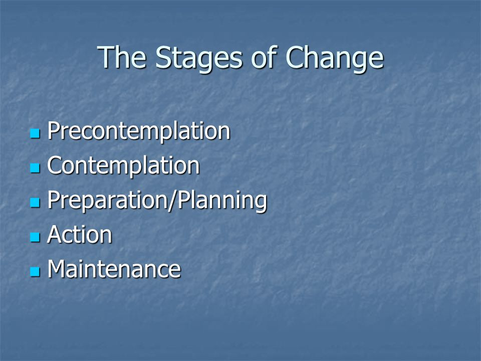 The Stages of Change Precontemplation Precontemplation Contemplation Contemplation Preparation/Planning Preparation/Planning Action Action Maintenance Maintenance