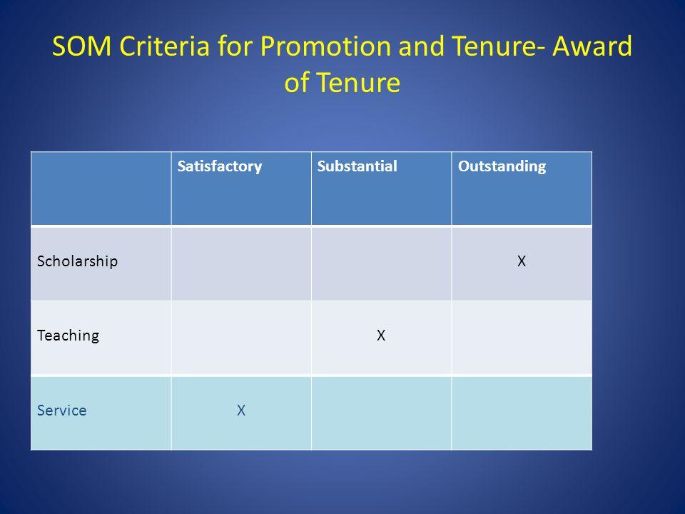 SOM Criteria for Promotion and Tenure- Award of Tenure SatisfactorySubstantialOutstanding ScholarshipX TeachingX ServiceX