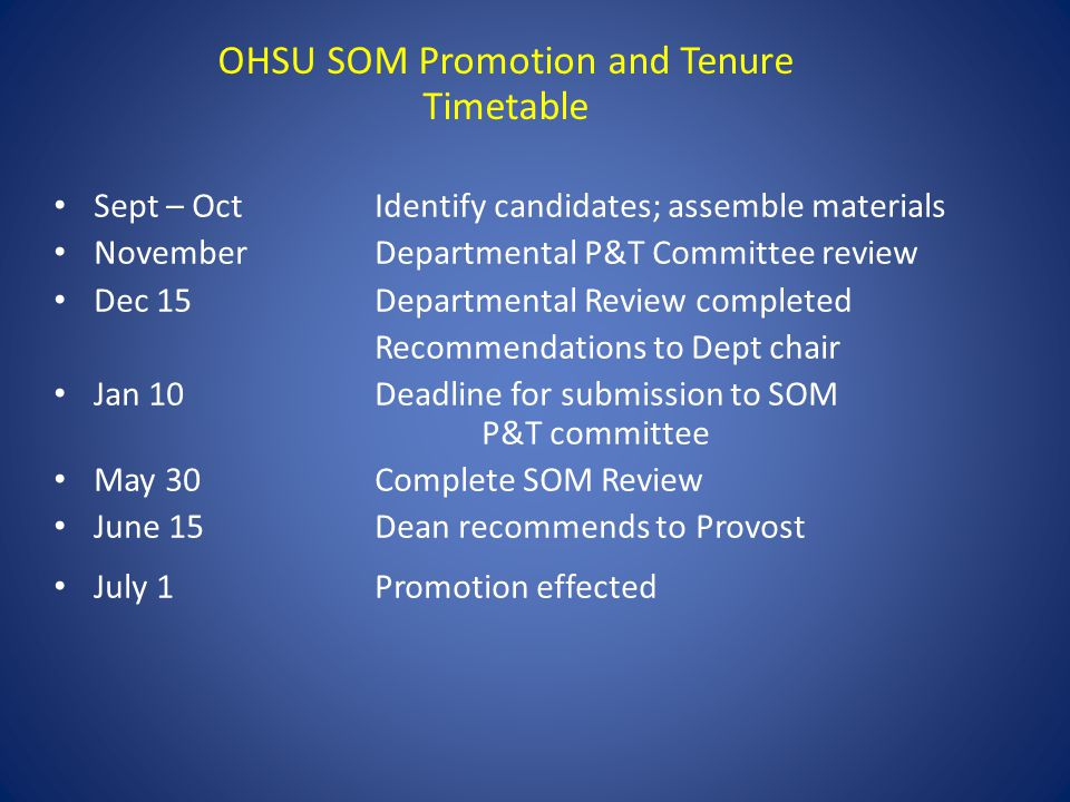 OHSU SOM Promotion and Tenure Timetable Sept – Oct Identify candidates; assemble materials NovemberDepartmental P&T Committee review Dec 15Departmental Review completed Recommendations to Dept chair Jan 10 Deadline for submission to SOM P&T committee May 30Complete SOM Review June 15Dean recommends to Provost July 1Promotion effected