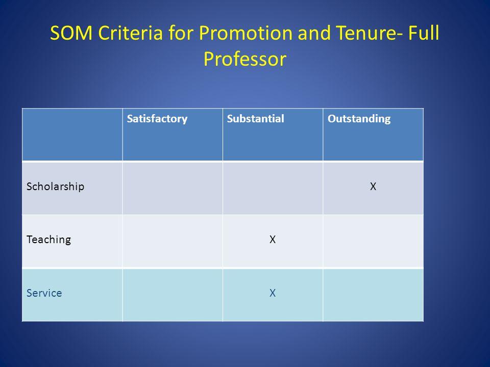 SOM Criteria for Promotion and Tenure- Full Professor SatisfactorySubstantialOutstanding ScholarshipX TeachingX ServiceX