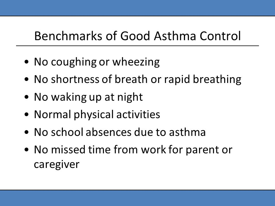 Benchmarks of Good Asthma Control No coughing or wheezing No shortness of breath or rapid breathing No waking up at night Normal physical activities N
