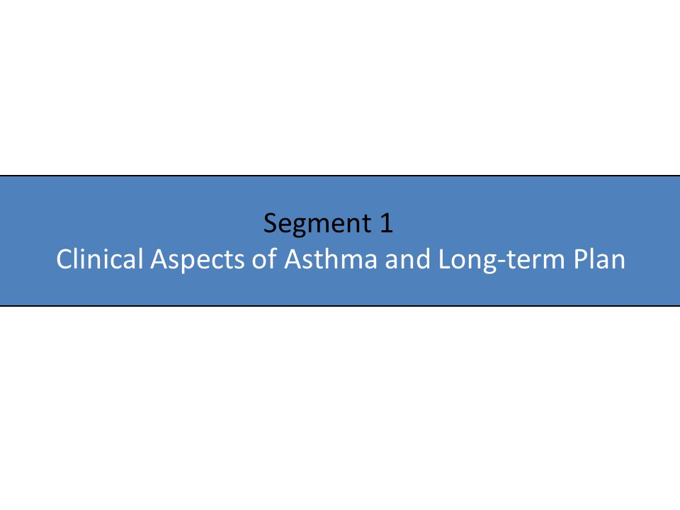 Segment 1 Clinical Aspects of Asthma and Long-term Plan