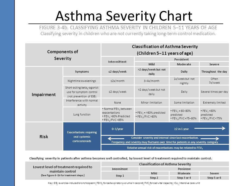 Components of Severity Classification of Asthma Severity (Children 5−11 years of age) Intermittent Persistent MildModerateSevere Impairment Symptoms≤2
