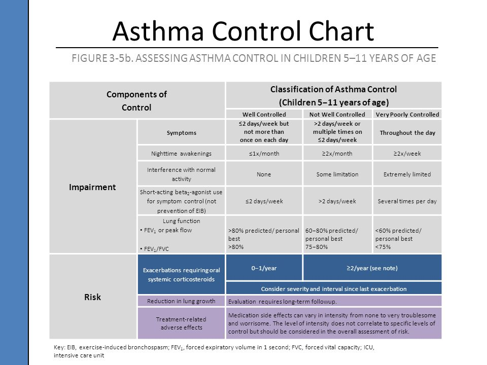 Components of Control Classification of Asthma Control (Children 5−11 years of age) Well ControlledNot Well ControlledVery Poorly Controlled Impairmen
