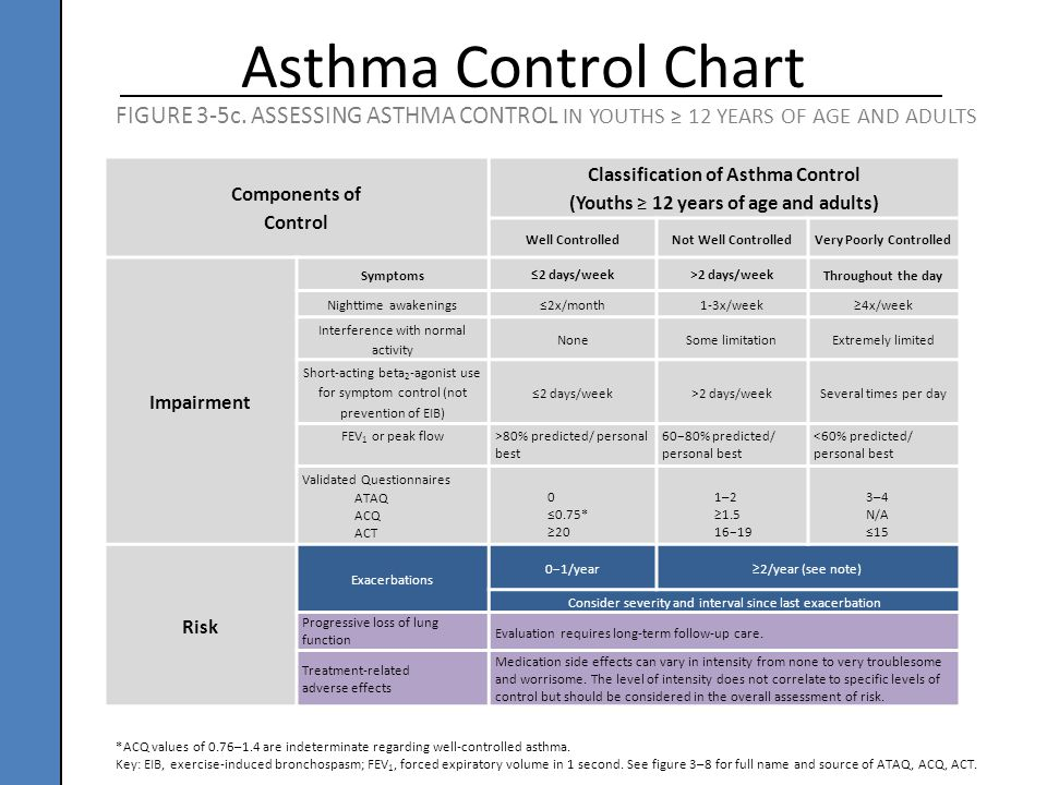 Components of Control Classification of Asthma Control (Youths ≥ 12 years of age and adults) Well ControlledNot Well ControlledVery Poorly Controlled