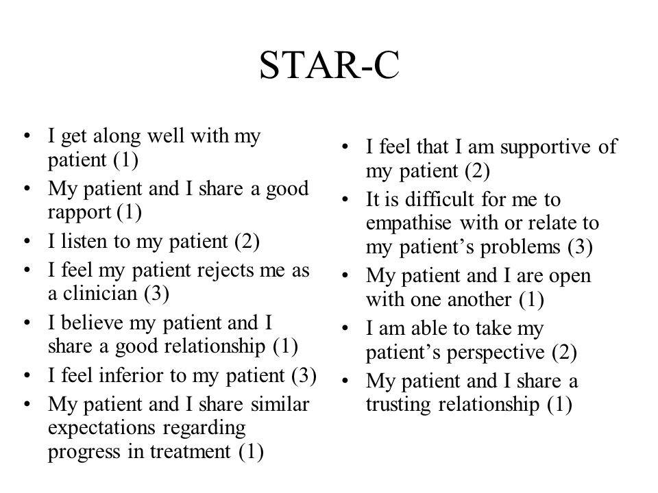 STAR-C I get along well with my patient (1) My patient and I share a good rapport (1) I listen to my patient (2) I feel my patient rejects me as a clinician (3) I believe my patient and I share a good relationship (1) I feel inferior to my patient (3) My patient and I share similar expectations regarding progress in treatment (1) I feel that I am supportive of my patient (2) It is difficult for me to empathise with or relate to my patient's problems (3) My patient and I are open with one another (1) I am able to take my patient's perspective (2) My patient and I share a trusting relationship (1)