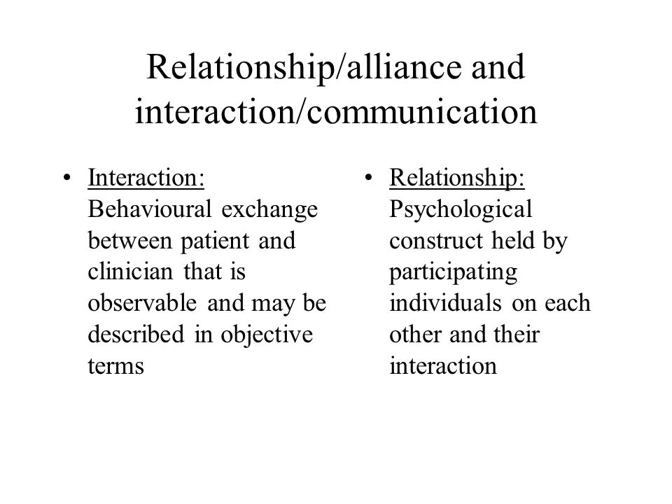 Relationship/alliance and interaction/communication Relationship: Psychological construct held by participating individuals on each other and their interaction Interaction: Behavioural exchange between patient and clinician that is observable and may be described in objective terms
