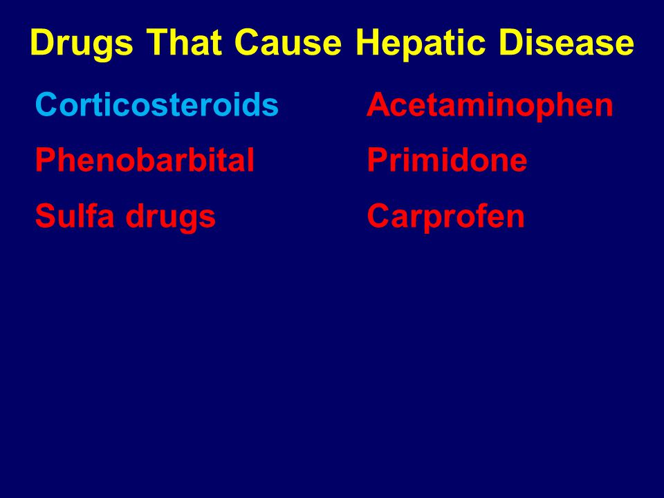 Drugs That Cause Hepatic Disease CorticosteroidsAcetaminophen PhenobarbitalPrimidone Sulfa drugsCarprofen