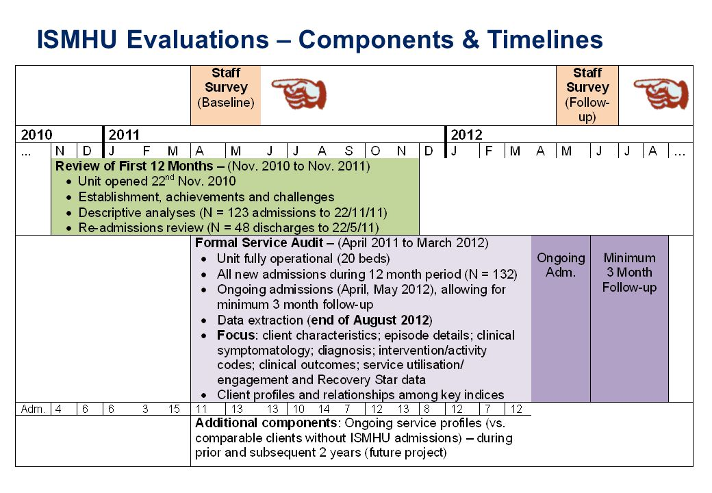 ISMHU Evaluations – Components & Timelines