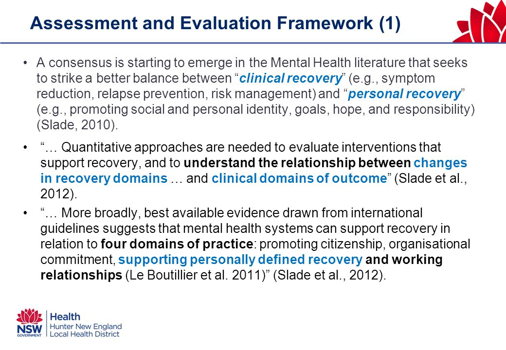 Assessment and Evaluation Framework (1) A consensus is starting to emerge in the Mental Health literature that seeks to strike a better balance betwee