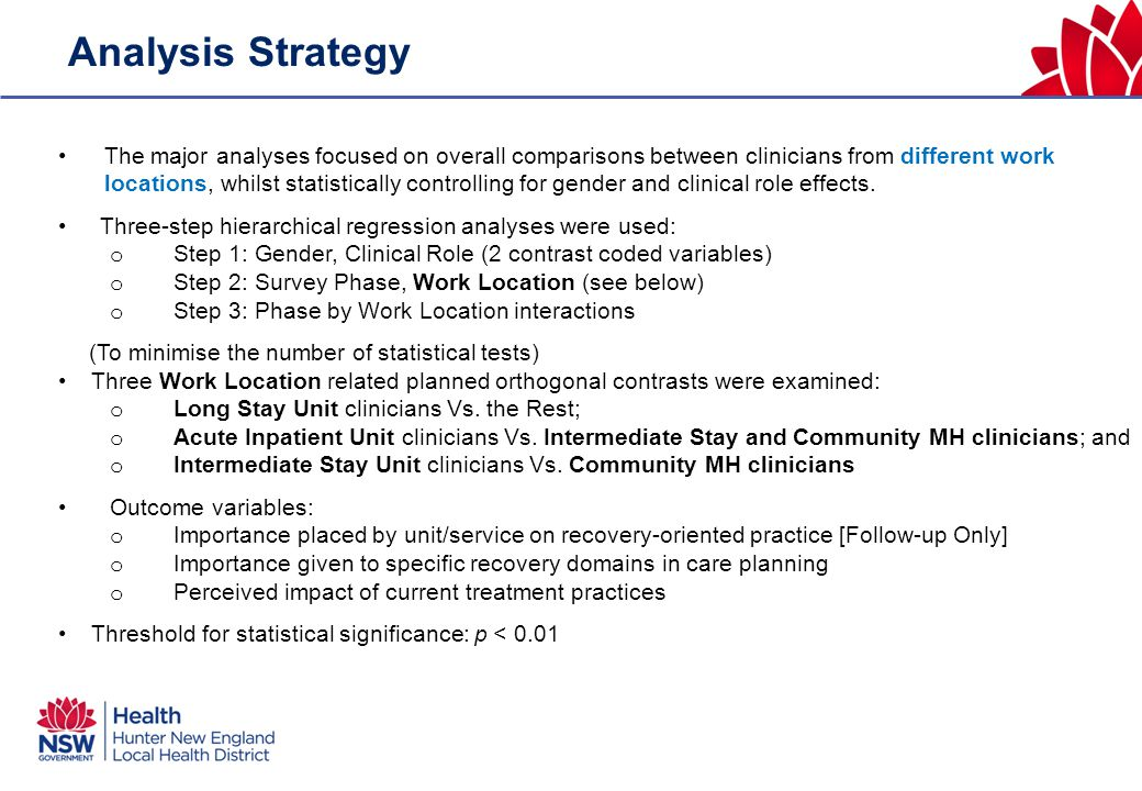 Analysis Strategy The major analyses focused on overall comparisons between clinicians from different work locations, whilst statistically controlling for gender and clinical role effects.