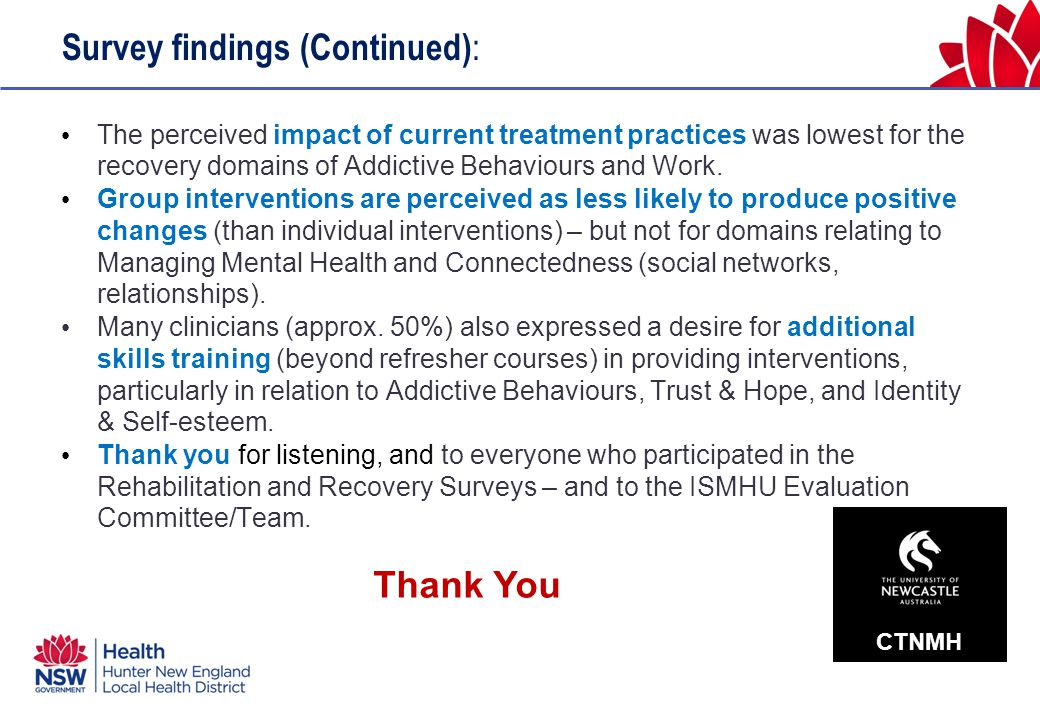 Survey findings (Continued) : The perceived impact of current treatment practices was lowest for the recovery domains of Addictive Behaviours and Work.