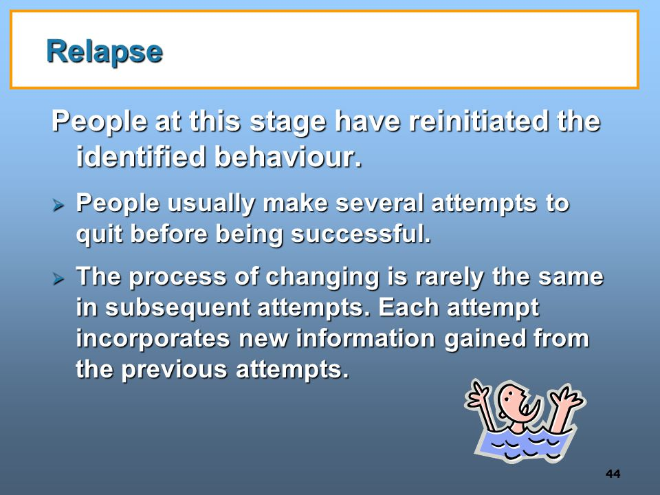 44 Relapse People at this stage have reinitiated the identified behaviour.