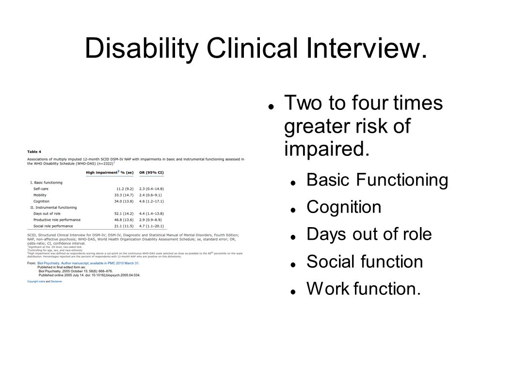 Disability Clinical Interview. Two to four times greater risk of impaired.