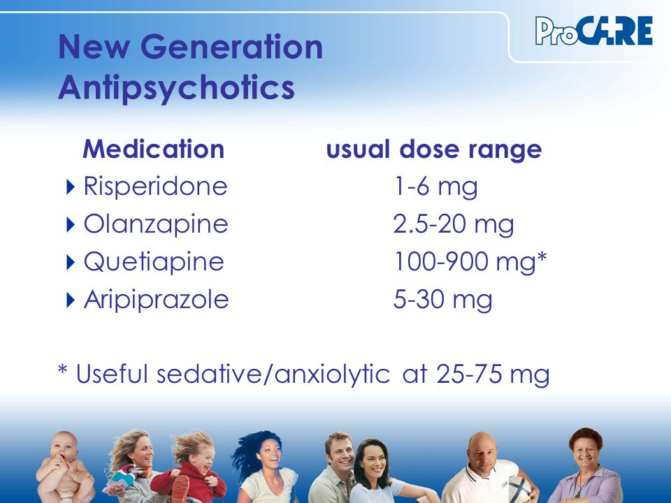 New Generation Antipsychotics Medicationusual dose range  Risperidone1-6 mg  Olanzapine2.5-20 mg  Quetiapine100-900 mg*  Aripiprazole5-30 mg * Useful sedative/anxiolytic at 25-75 mg