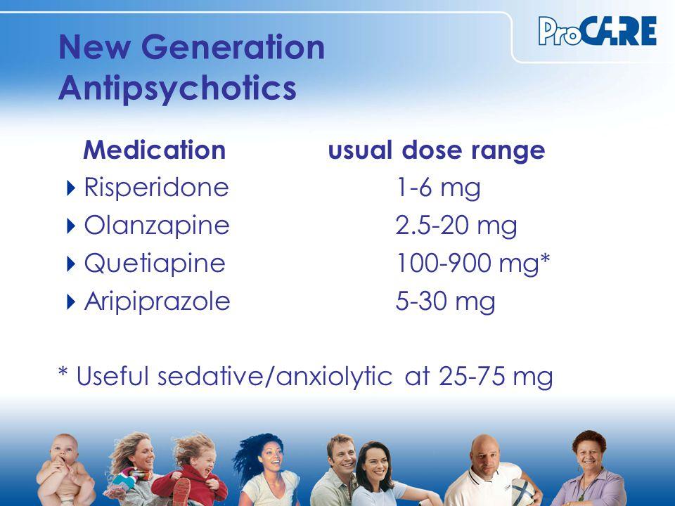 New Generation Antipsychotics Medicationusual dose range  Risperidone1-6 mg  Olanzapine2.5-20 mg  Quetiapine100-900 mg*  Aripiprazole5-30 mg * Useful sedative/anxiolytic at 25-75 mg