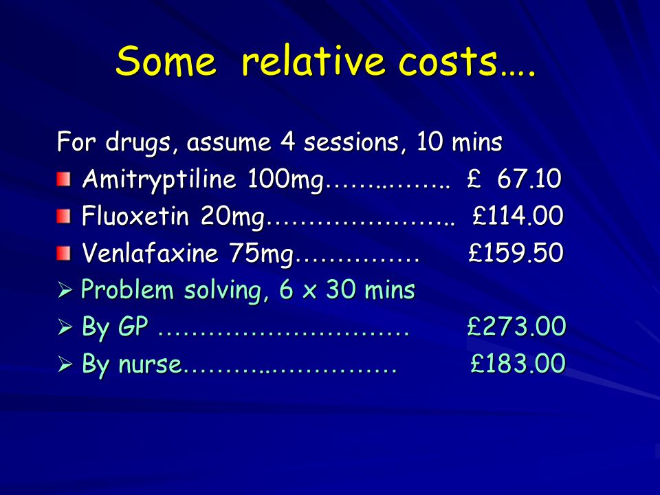 Some relative costs…. For drugs, assume 4 sessions, 10 mins Amitryptiline 100mg ……..
