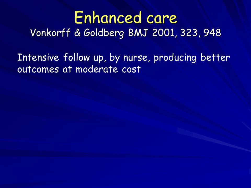 Enhanced care Vonkorff & Goldberg BMJ 2001, 323, 948 Intensive follow up, by nurse, producing better outcomes at moderate cost