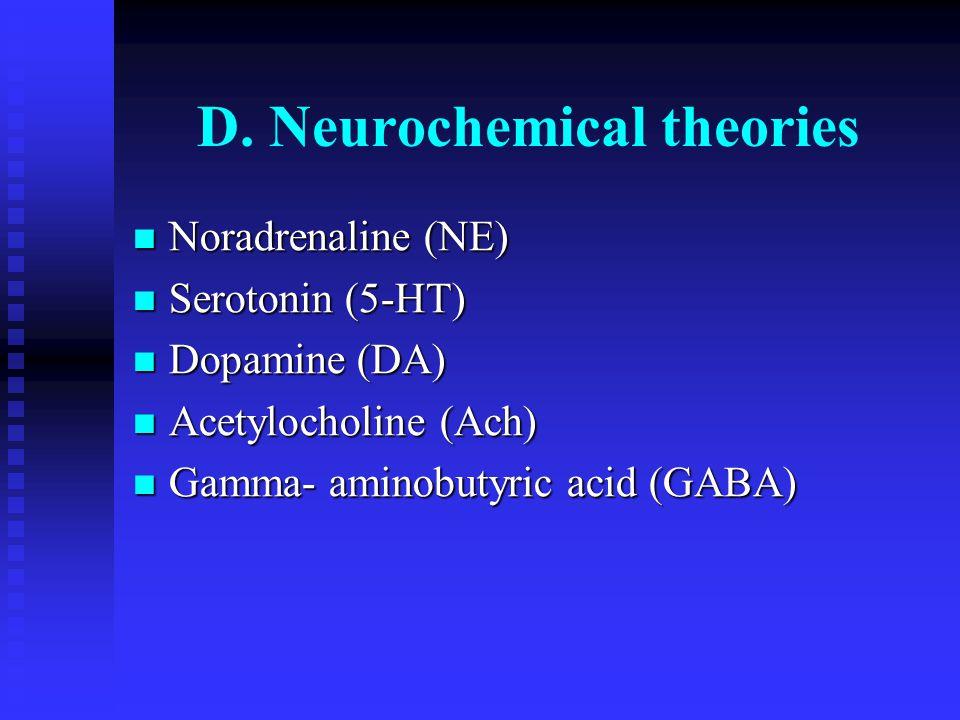 D. Neurochemical theories Noradrenaline (NE) Noradrenaline (NE) Serotonin (5-HT) Serotonin (5-HT) Dopamine (DA) Dopamine (DA) Acetylocholine (Ach) Ace