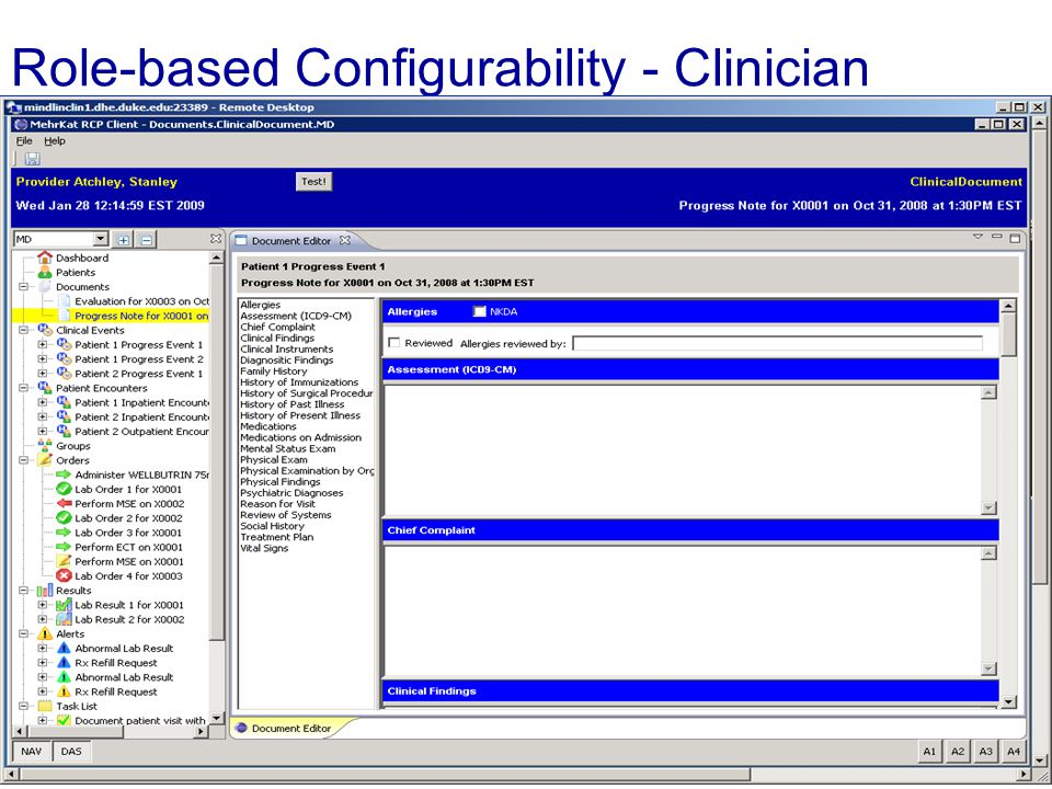 Role-based Configurability - Clinician End Slide