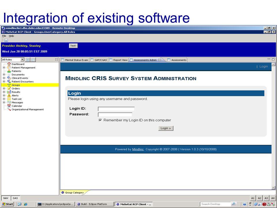 Integration of existing software End Slide