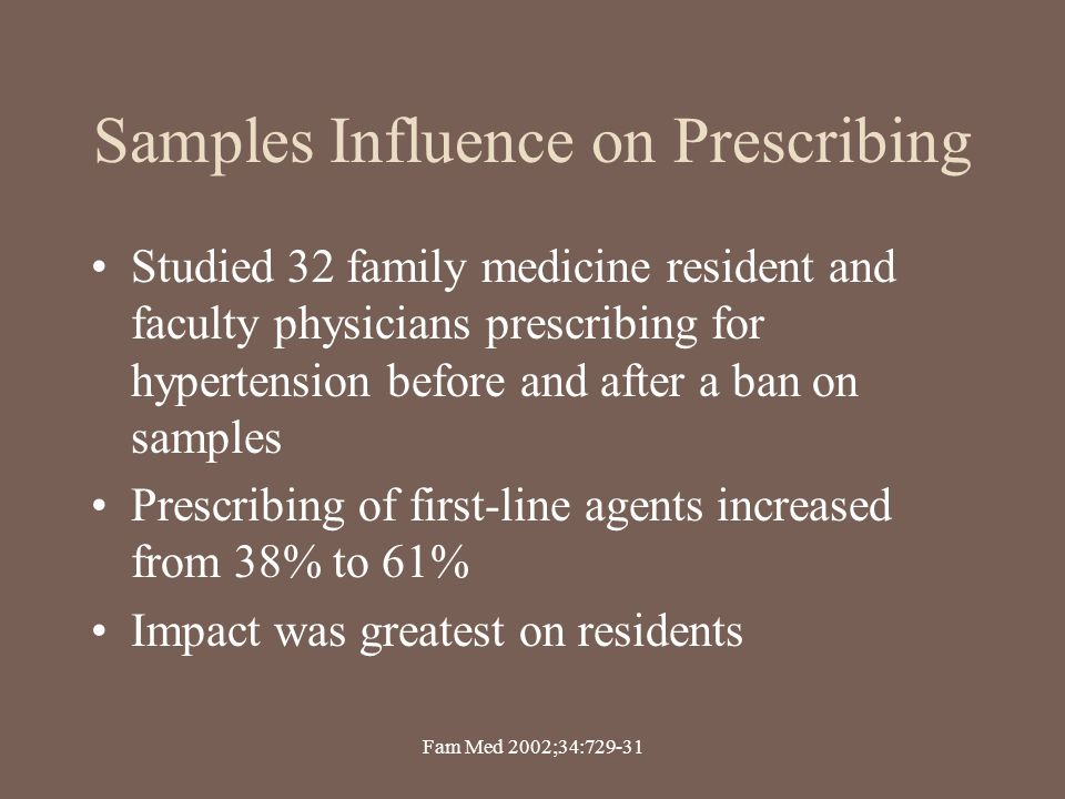 Samples Influence on Prescribing Studied 32 family medicine resident and faculty physicians prescribing for hypertension before and after a ban on sam