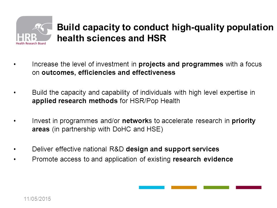Build capacity to conduct high-quality population health sciences and HSR Increase the level of investment in projects and programmes with a focus on outcomes, efficiencies and effectiveness Build the capacity and capability of individuals with high level expertise in applied research methods for HSR/Pop Health Invest in programmes and/or networks to accelerate research in priority areas (in partnership with DoHC and HSE) Deliver effective national R&D design and support services Promote access to and application of existing research evidence 11/05/2015