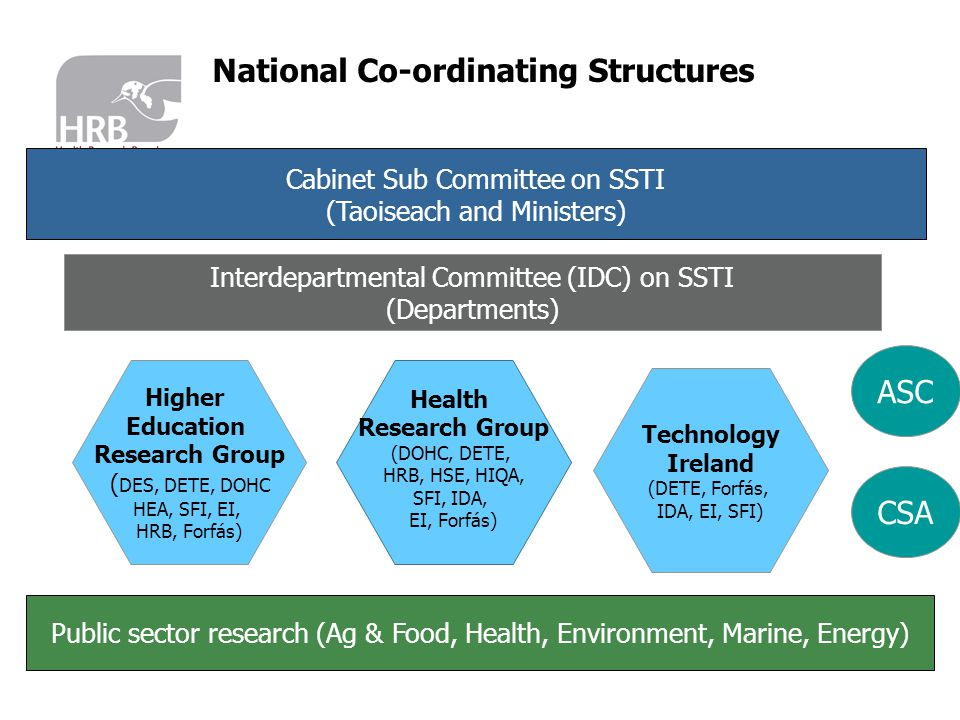 Cabinet Sub Committee on SSTI (Taoiseach and Ministers) Interdepartmental Committee (IDC) on SSTI (Departments) Higher Education Research Group ( DES, DETE, DOHC HEA, SFI, EI, HRB, Forfás) Health Research Group (DOHC, DETE, HRB, HSE, HIQA, SFI, IDA, EI, Forfás) Technology Ireland (DETE, Forfás, IDA, EI, SFI) Public sector research (Ag & Food, Health, Environment, Marine, Energy) ASC CSA National Co-ordinating Structures