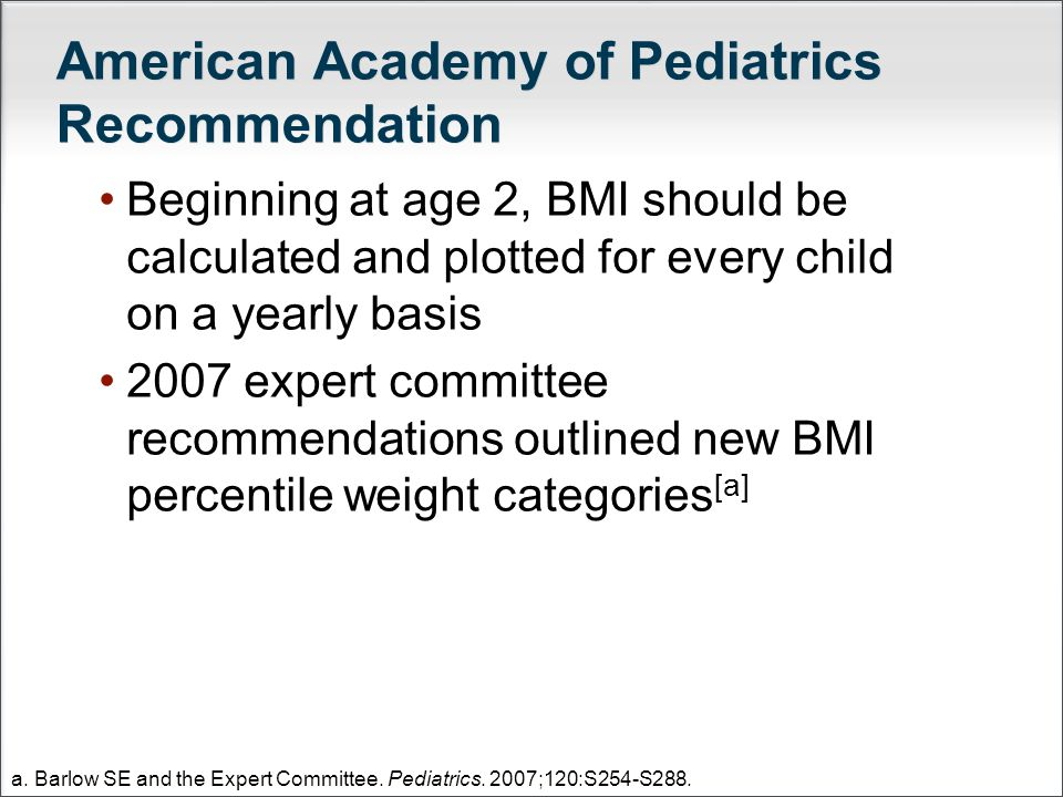 American Academy of Pediatrics Recommendation Beginning at age 2, BMI should be calculated and plotted for every child on a yearly basis 2007 expert c