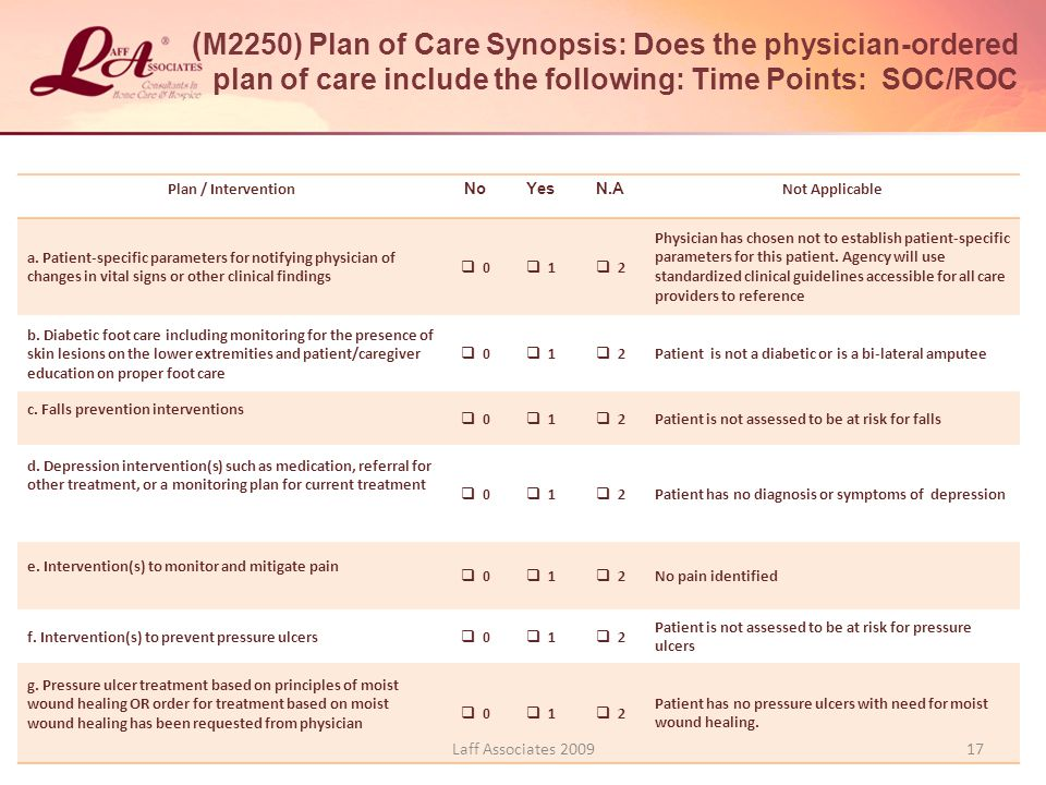 ( M2250) Plan of Care Synopsis: Does the physician-ordered plan of care include the following: Time Points: SOC/ROC Plan / Intervention NoYesN.A Not Applicable a.