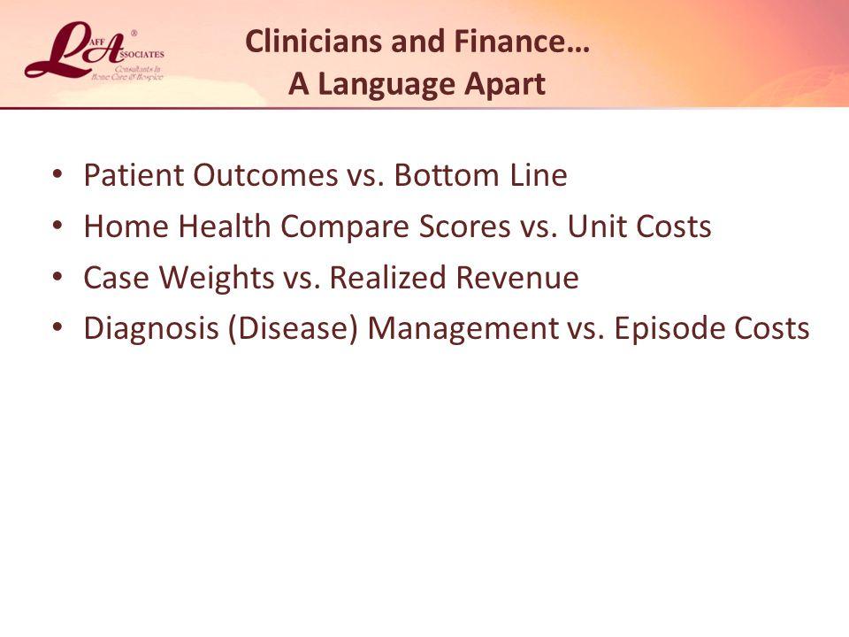 Clinicians and Finance… A Language Apart Patient Outcomes vs.