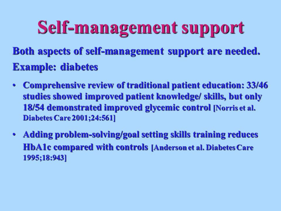 Self-management support Both aspects of self-management support are needed. Example: diabetes Comprehensive review of traditional patient education: 3