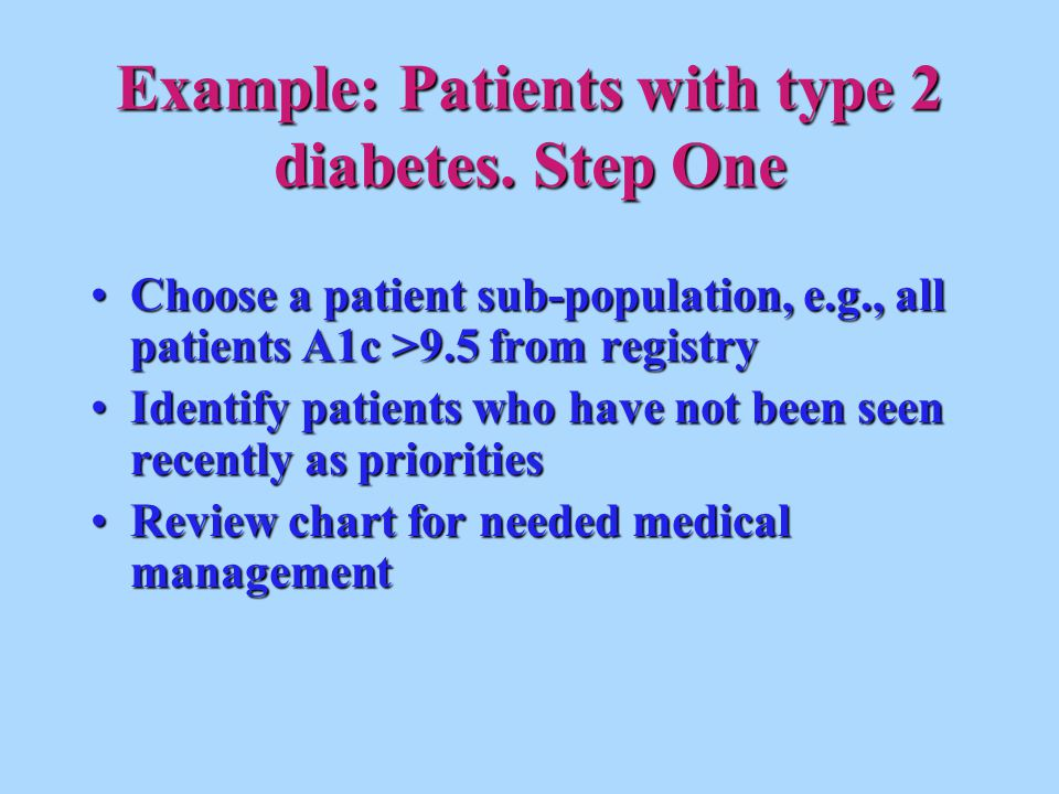 Example: Patients with type 2 diabetes. Step One Choose a patient sub-population, e.g., all patients A1c >9.5 from registryChoose a patient sub-popula