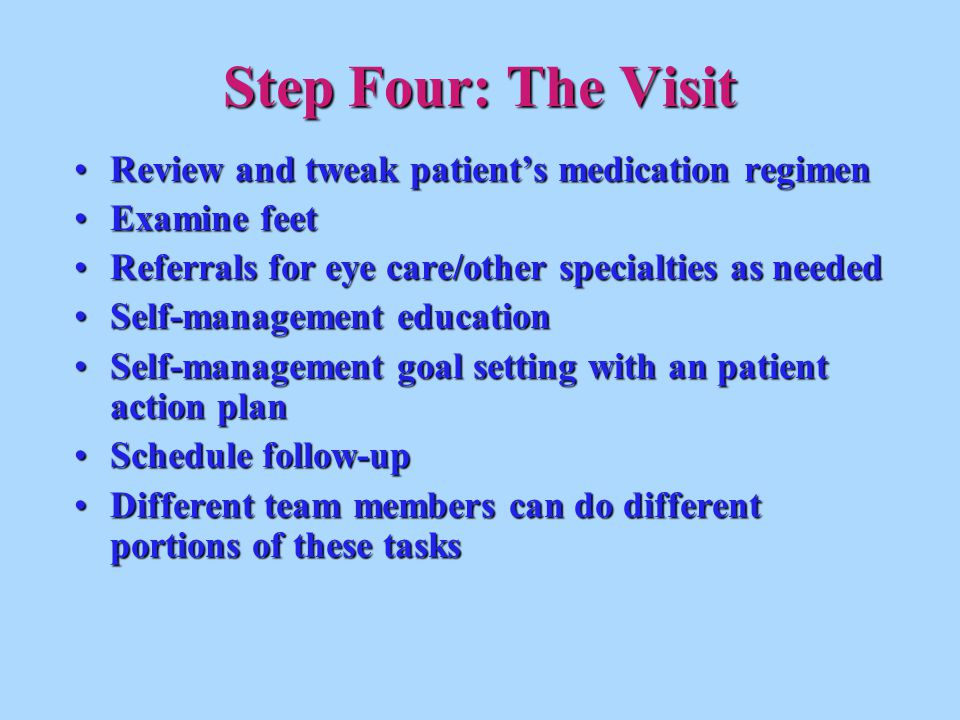 Review and tweak patient's medication regimenReview and tweak patient's medication regimen Examine feetExamine feet Referrals for eye care/other speci