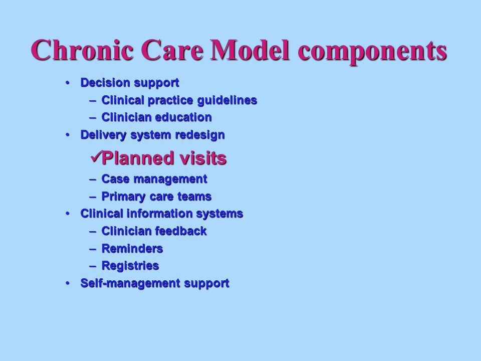 Chronic Care Model components Decision support Decision support –Clinical practice guidelines –Clinician education Delivery system redesignDelivery system redesign Planned visits Planned visits –Case management –Primary care teams Clinical information systemsClinical information systems –Clinician feedback –Reminders –Registries Self-management supportSelf-management support