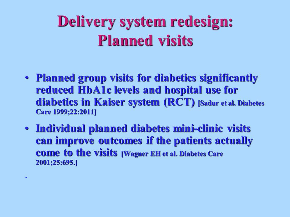Delivery system redesign: Planned visits Planned group visits for diabetics significantly reduced HbA1c levels and hospital use for diabetics in Kaiser system (RCT) [Sadur et al.