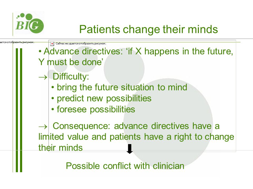 Patients change their minds Advance directives: 'if X happens in the future, Y must be done'  Difficulty: bring the future situation to mind predict new possibilities foresee possibilities Possible conflict with clinician  Consequence: advance directives have a limited value and patients have a right to change their minds