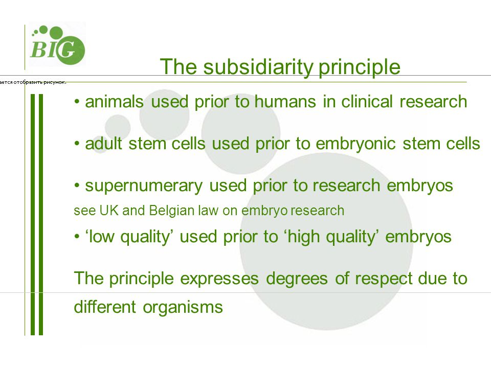 animals used prior to humans in clinical research adult stem cells used prior to embryonic stem cells supernumerary used prior to research embryos see UK and Belgian law on embryo research 'low quality' used prior to 'high quality' embryos The principle expresses degrees of respect due to different organisms The subsidiarity principle