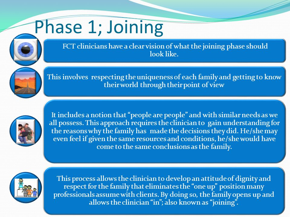 Phase 1; Joining FCT clinicians have a clear vision of what the joining phase should look like.