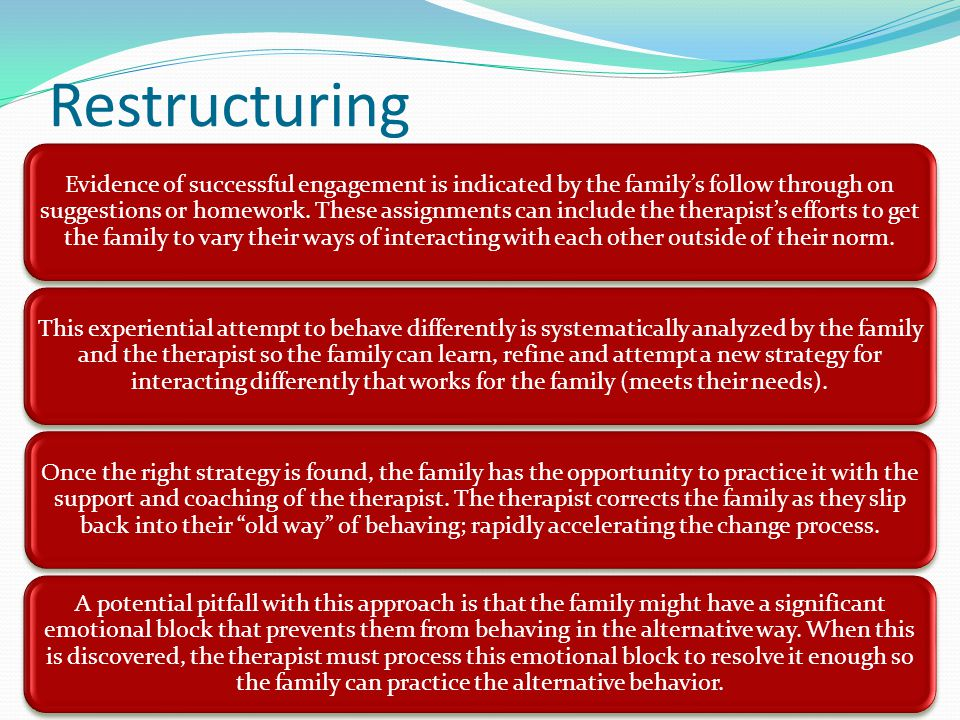 Restructuring Evidence of successful engagement is indicated by the family's follow through on suggestions or homework.
