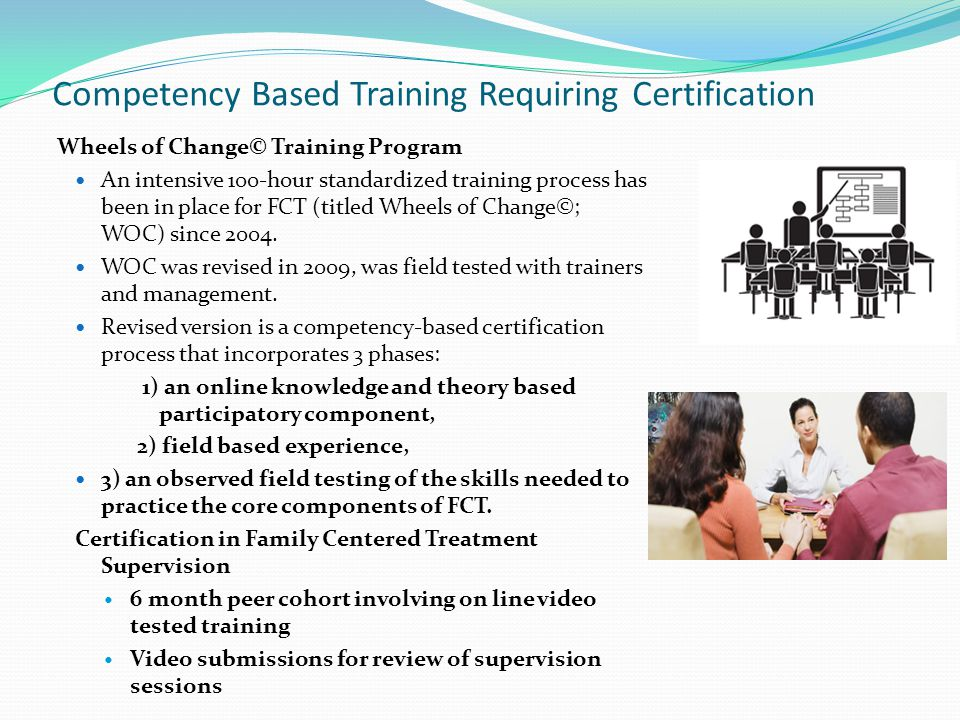 Competency Based Training Requiring Certification Wheels of Change© Training Program An intensive 100-hour standardized training process has been in place for FCT (titled Wheels of Change©; WOC) since 2004.