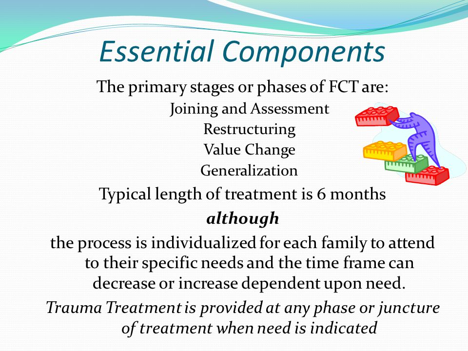 Essential Components The primary stages or phases of FCT are: Joining and Assessment Restructuring Value Change Generalization Typical length of treatment is 6 months although the process is individualized for each family to attend to their specific needs and the time frame can decrease or increase dependent upon need.