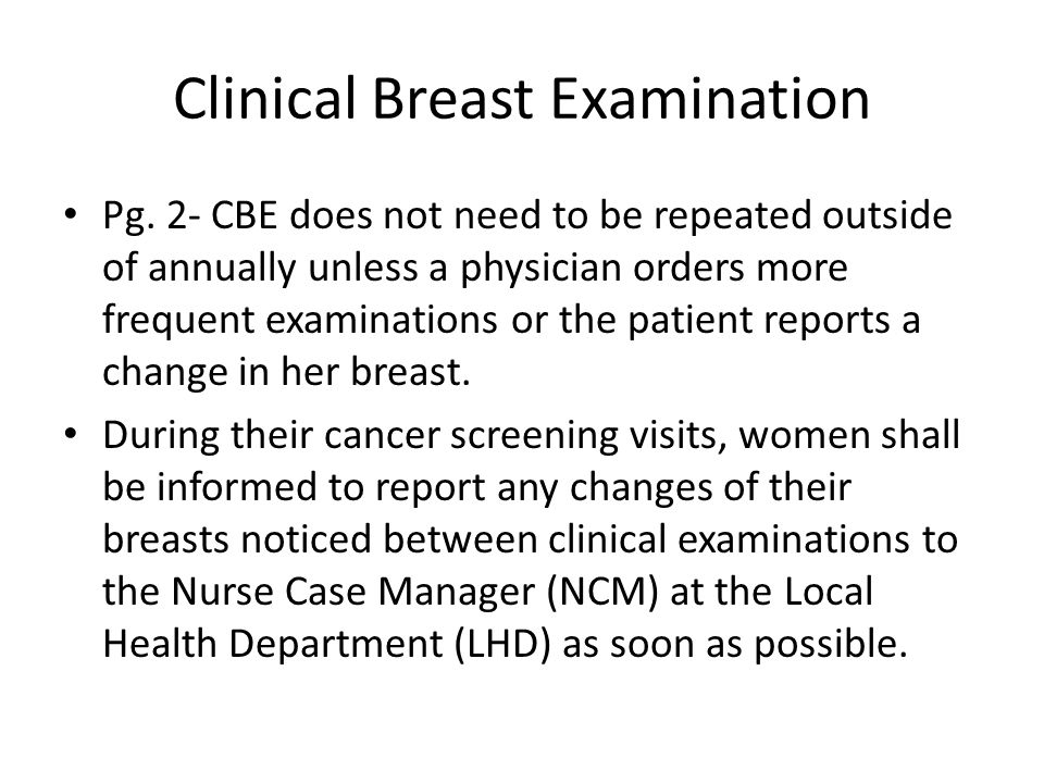 Clinical Breast Examination Pg.