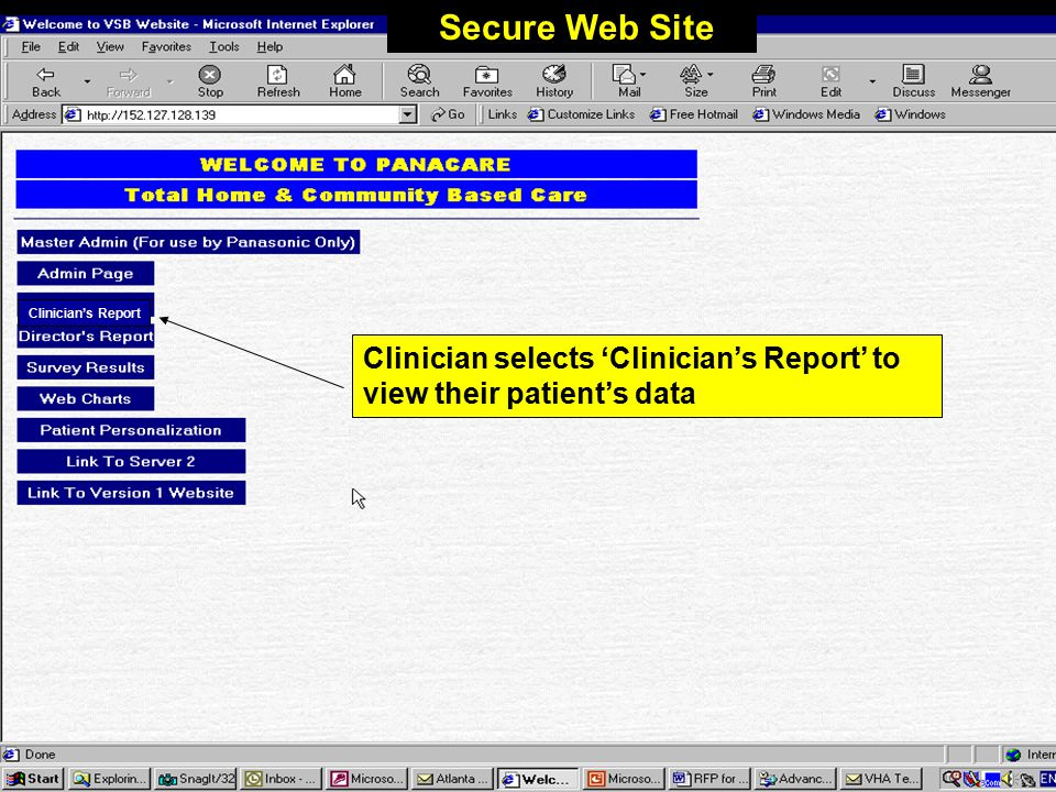Monitoring Physiologic Data Web-based data-reporting –All data sent from home is available on a secure web site Clinicians see data organized by patient, date, compliance status and physiologic measurement type.