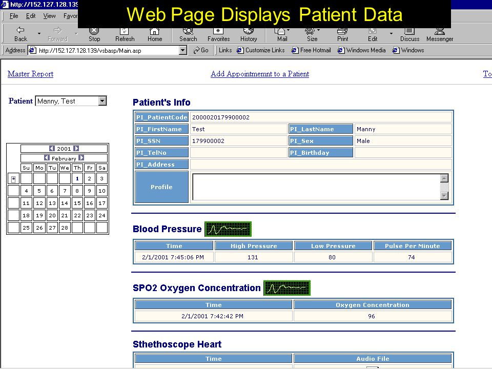 Clinician's Report Clinician selects 'Clinician's Report' to view their patient's data Secure Web Site